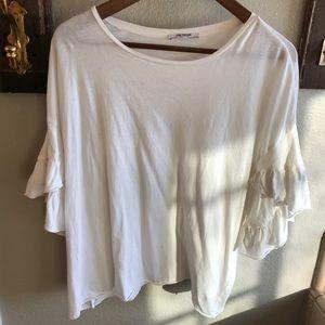 ZARA ivory ruffle sleeve cotton T-shirt